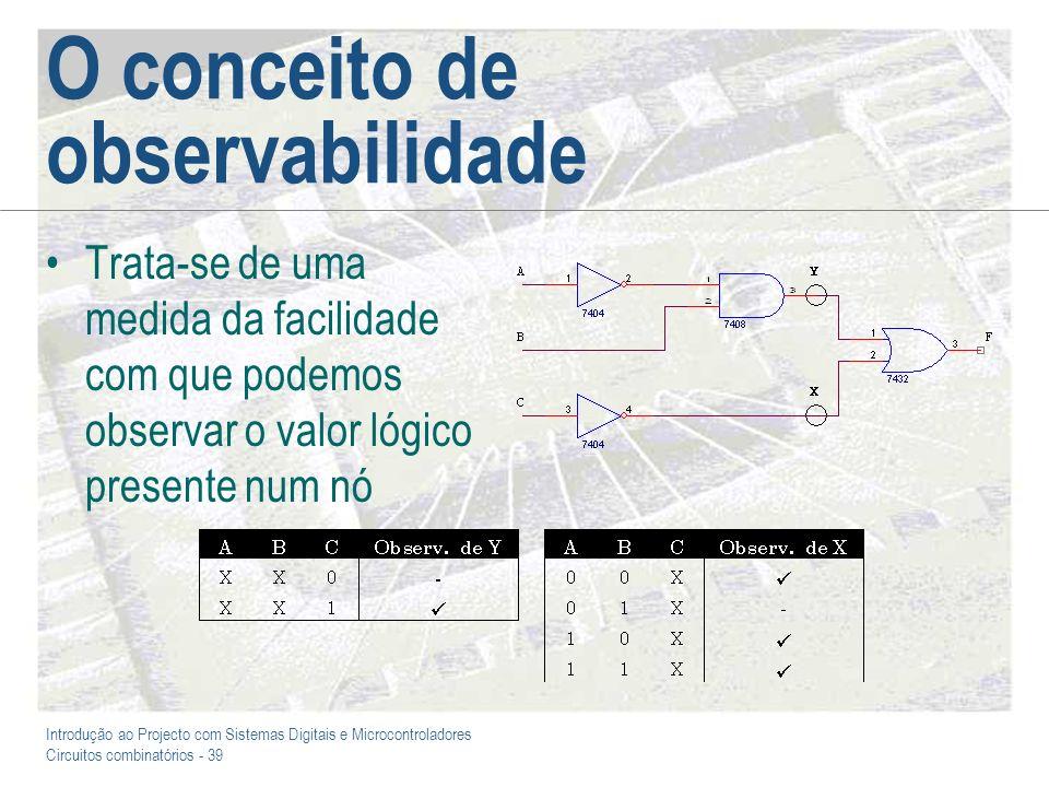 Introdução ao Projecto com Sistemas Digitais e Microcontroladores Circuitos combinatórios - 39 O conceito de observabilidade Trata-se de uma medida da