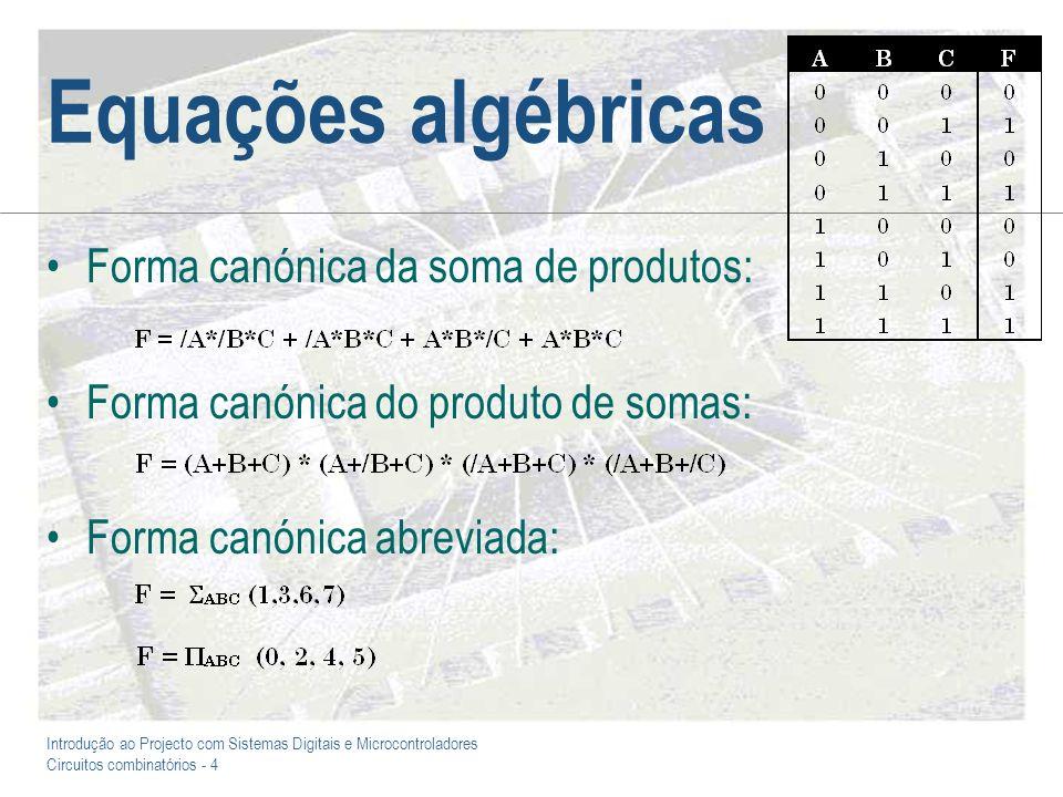 Introdução ao Projecto com Sistemas Digitais e Microcontroladores Circuitos combinatórios - 4 Equações algébricas Forma canónica da soma de produtos: