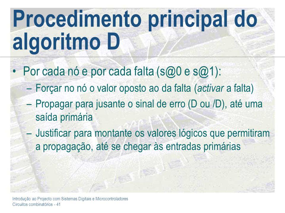 Introdução ao Projecto com Sistemas Digitais e Microcontroladores Circuitos combinatórios - 41 Procedimento principal do algoritmo D Por cada nó e por