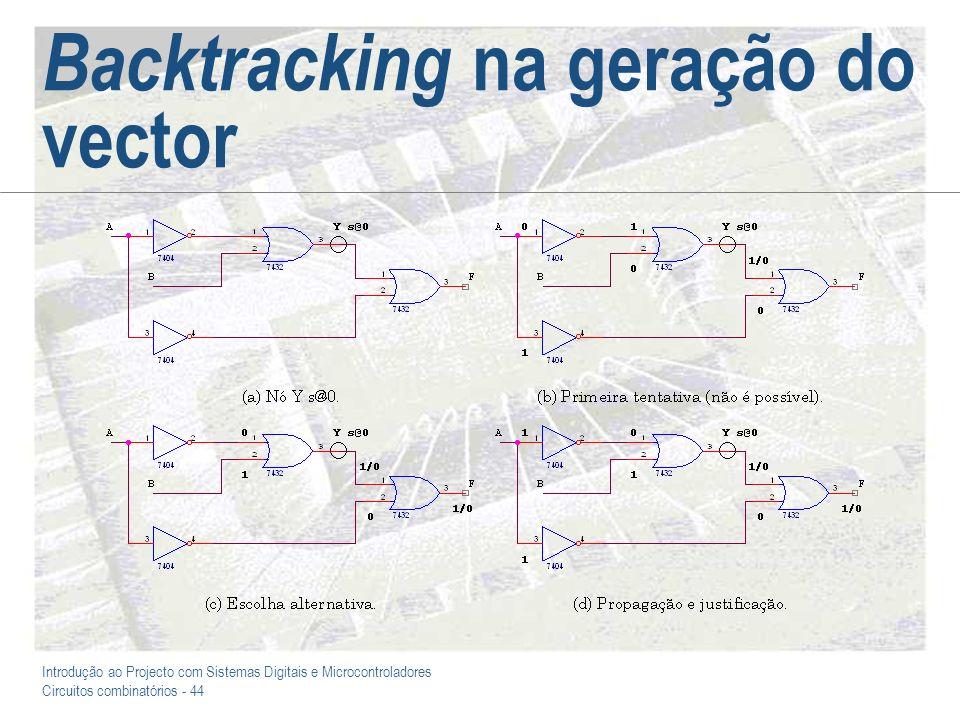 Introdução ao Projecto com Sistemas Digitais e Microcontroladores Circuitos combinatórios - 44 Backtracking na geração do vector