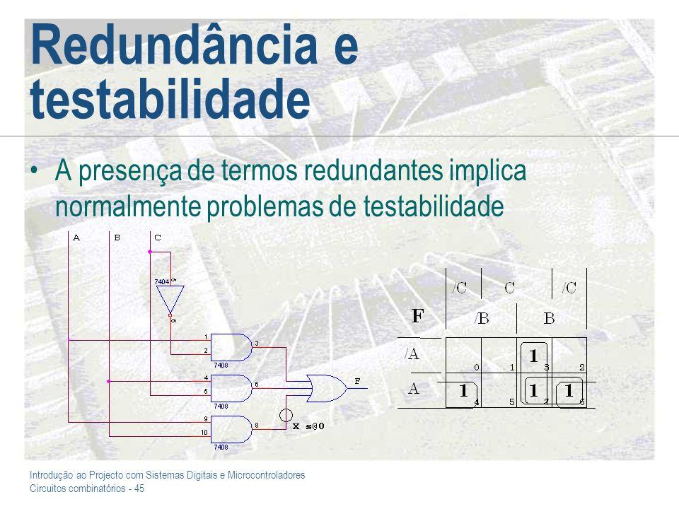 Introdução ao Projecto com Sistemas Digitais e Microcontroladores Circuitos combinatórios - 45 Redundância e testabilidade A presença de termos redund