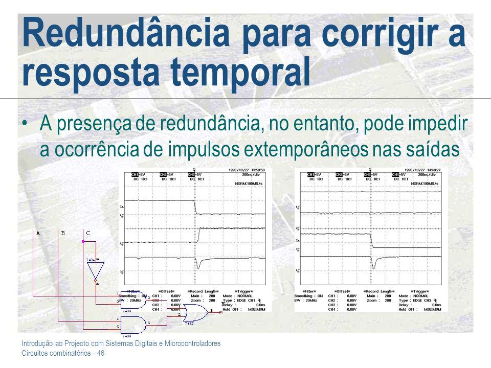 Introdução ao Projecto com Sistemas Digitais e Microcontroladores Circuitos combinatórios - 46 Redundância para corrigir a resposta temporal A presenç