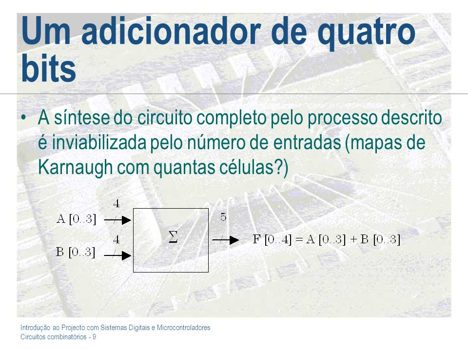Introdução ao Projecto com Sistemas Digitais e Microcontroladores Circuitos combinatórios - 9 Um adicionador de quatro bits A síntese do circuito comp