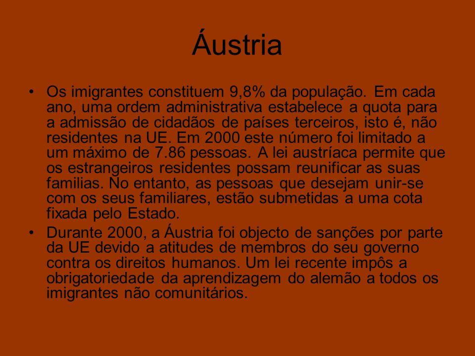 Áustria Os imigrantes constituem 9,8% da população. Em cada ano, uma ordem administrativa estabelece a quota para a admissão de cidadãos de países ter