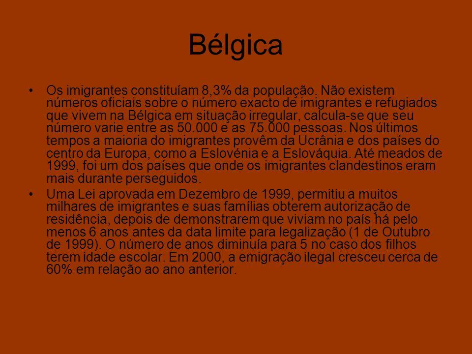 Bélgica Os imigrantes constituíam 8,3% da população. Não existem números oficiais sobre o número exacto de imigrantes e refugiados que vivem na Bélgic