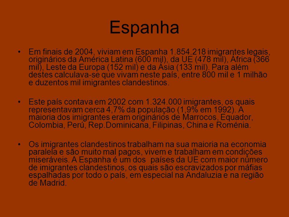 Espanha Em finais de 2004, viviam em Espanha 1.854.218 imigrantes legais, originários da América Latina (600 mil), da UE (478 mil), África (366 mil),