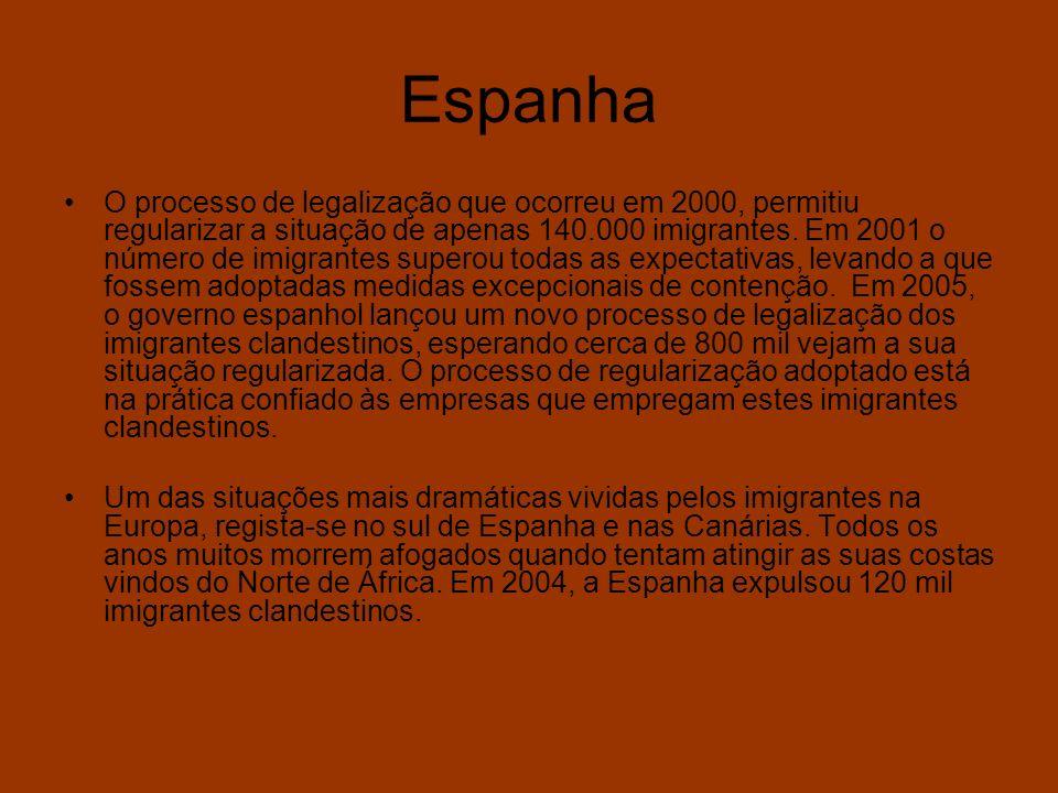 Espanha O processo de legalização que ocorreu em 2000, permitiu regularizar a situação de apenas 140.000 imigrantes. Em 2001 o número de imigrantes su