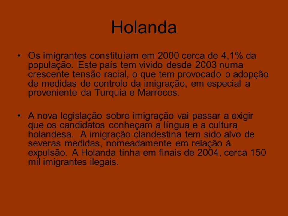 Holanda Os imigrantes constituíam em 2000 cerca de 4,1% da população. Este país tem vivido desde 2003 numa crescente tensão racial, o que tem provocad