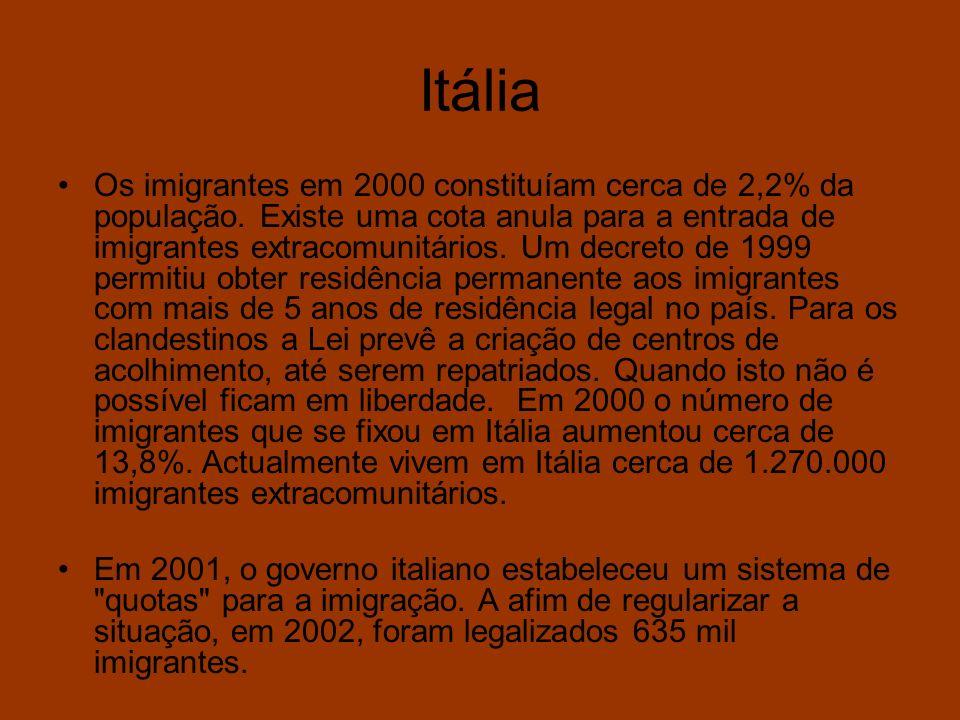 Itália Os imigrantes em 2000 constituíam cerca de 2,2% da população. Existe uma cota anula para a entrada de imigrantes extracomunitários. Um decreto