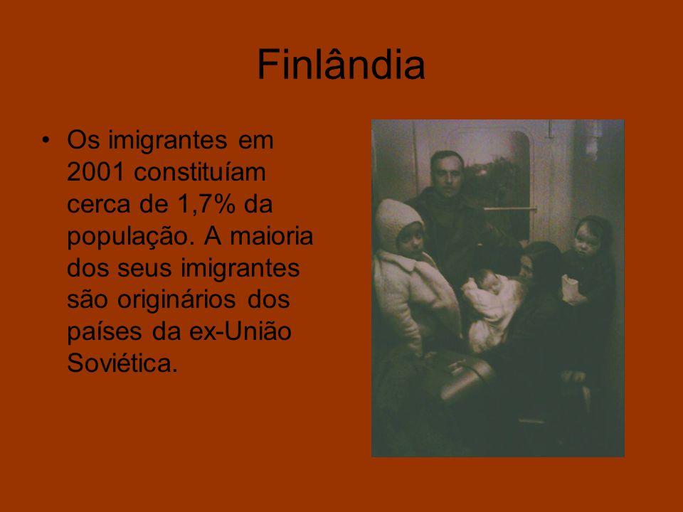 Finlândia Os imigrantes em 2001 constituíam cerca de 1,7% da população. A maioria dos seus imigrantes são originários dos países da ex-União Soviética
