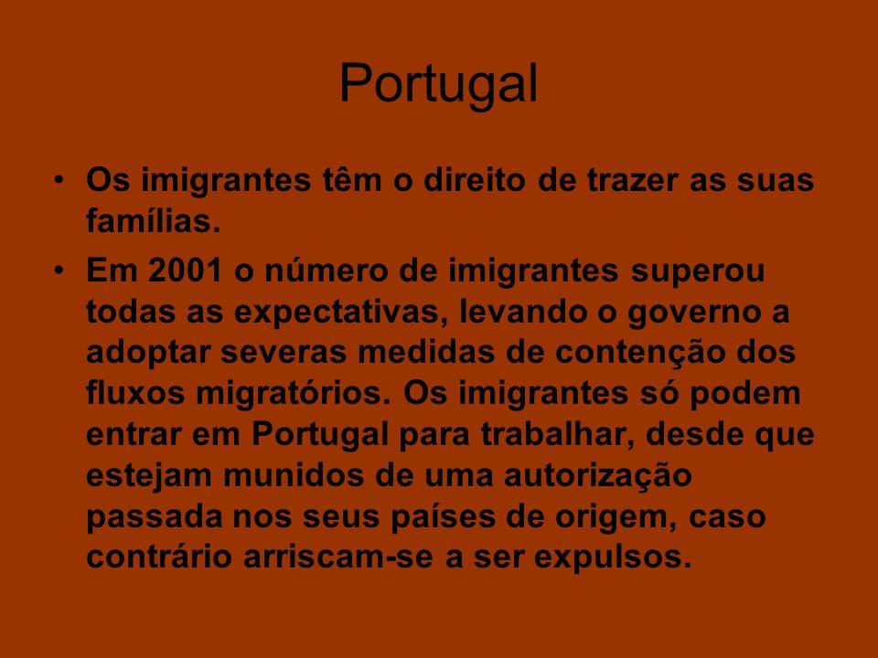 Portugal Os imigrantes têm o direito de trazer as suas famílias. Em 2001 o número de imigrantes superou todas as expectativas, levando o governo a ado