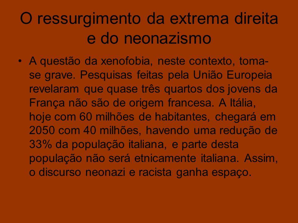 O ressurgimento da extrema direita e do neonazismo A questão da xenofobia, neste contexto, toma- se grave. Pesquisas feitas pela União Europeia revela