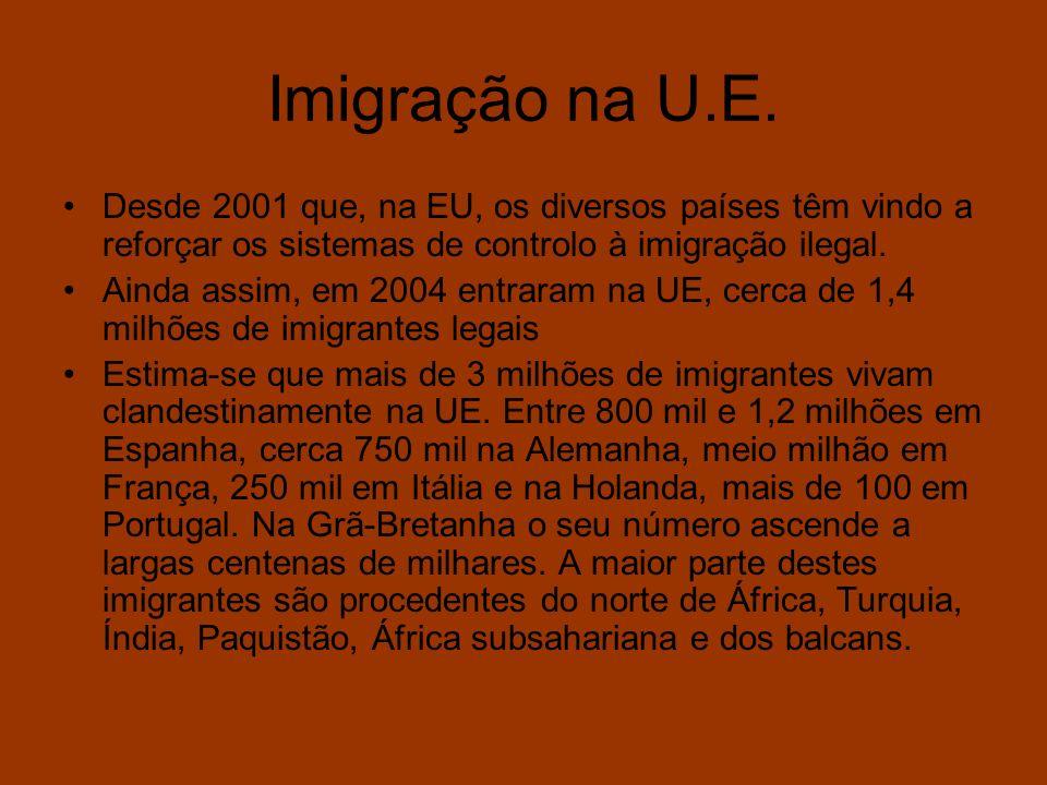 Imigração na U.E. Desde 2001 que, na EU, os diversos países têm vindo a reforçar os sistemas de controlo à imigração ilegal. Ainda assim, em 2004 entr