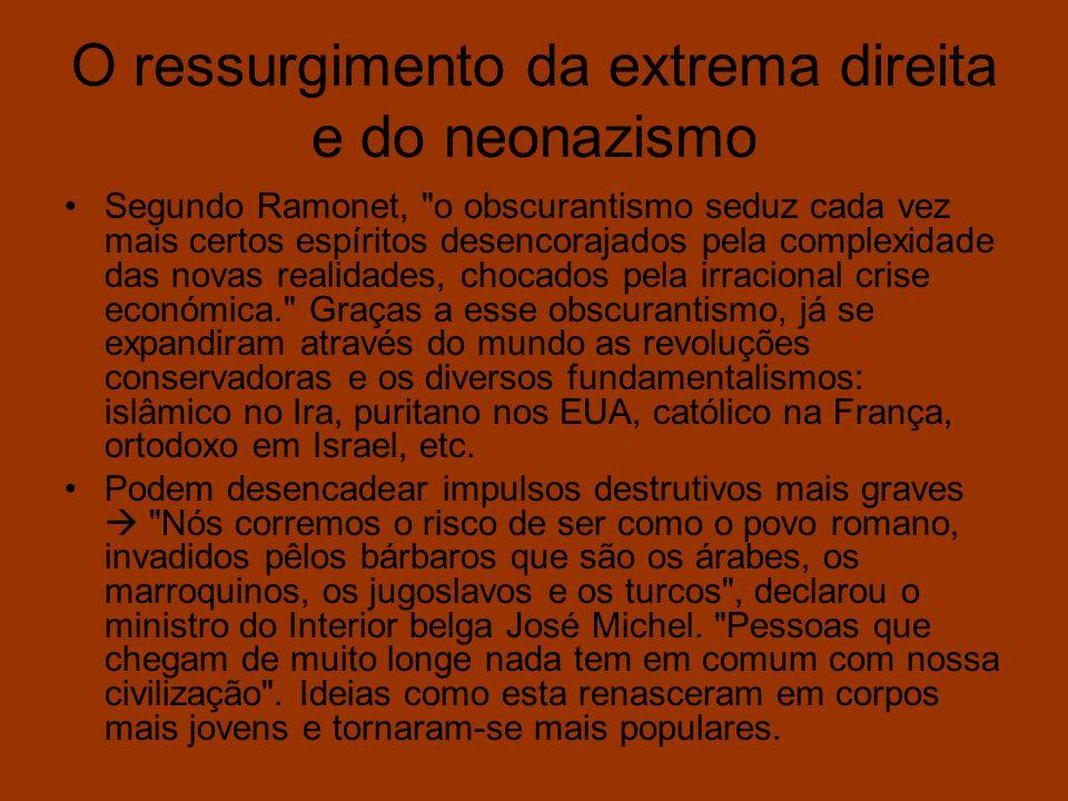 O ressurgimento da extrema direita e do neonazismo Segundo Ramonet,