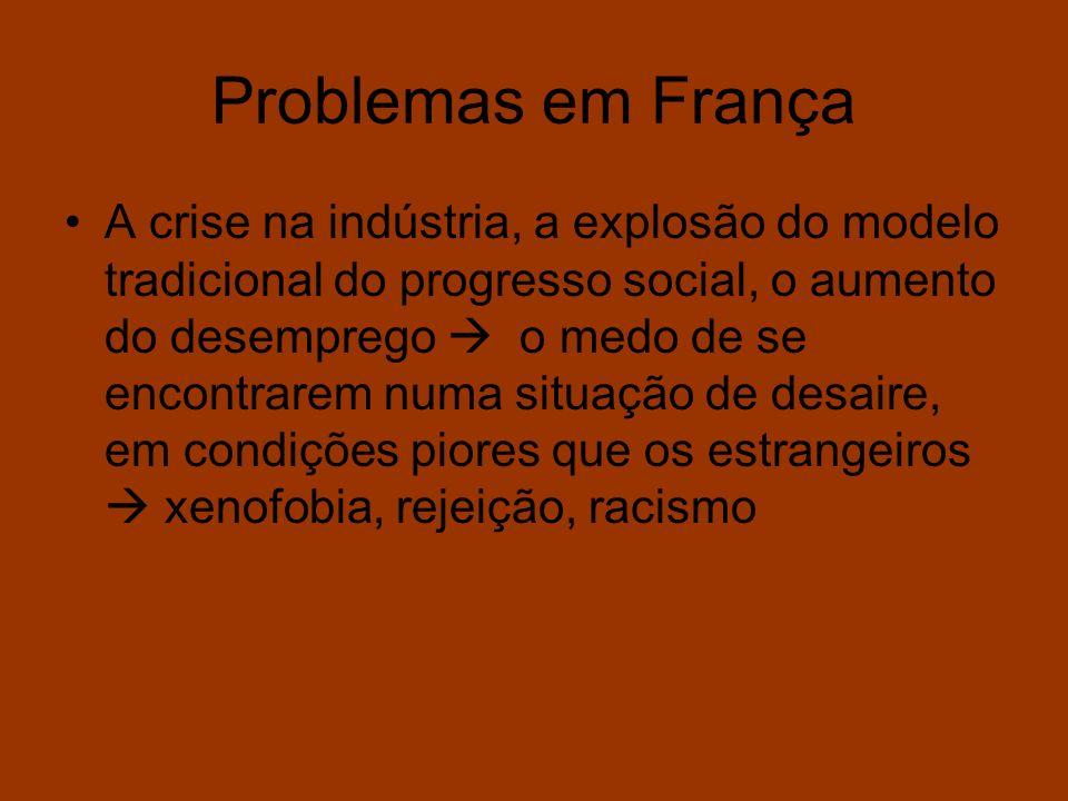Problemas em França A crise na indústria, a explosão do modelo tradicional do progresso social, o aumento do desemprego o medo de se encontrarem numa
