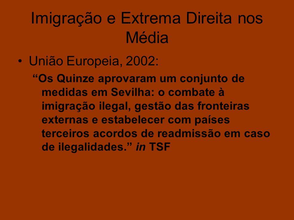 Imigração e Extrema Direita nos Média União Europeia, 2002: Os Quinze aprovaram um conjunto de medidas em Sevilha: o combate à imigração ilegal, gestã