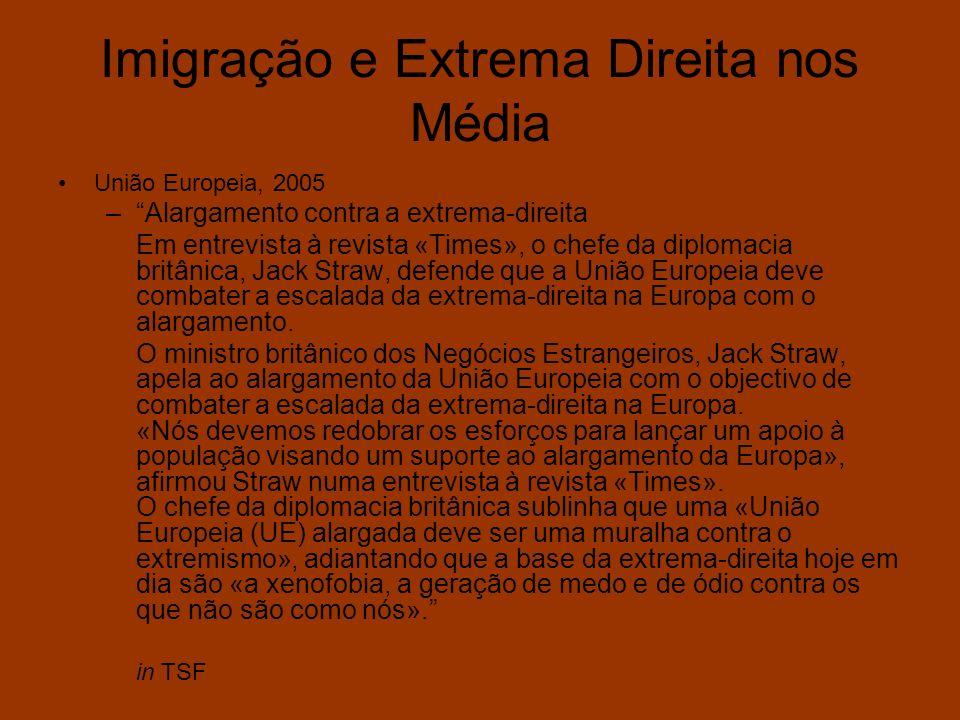 Imigração e Extrema Direita nos Média União Europeia, 2005 –Alargamento contra a extrema-direita Em entrevista à revista «Times», o chefe da diplomaci