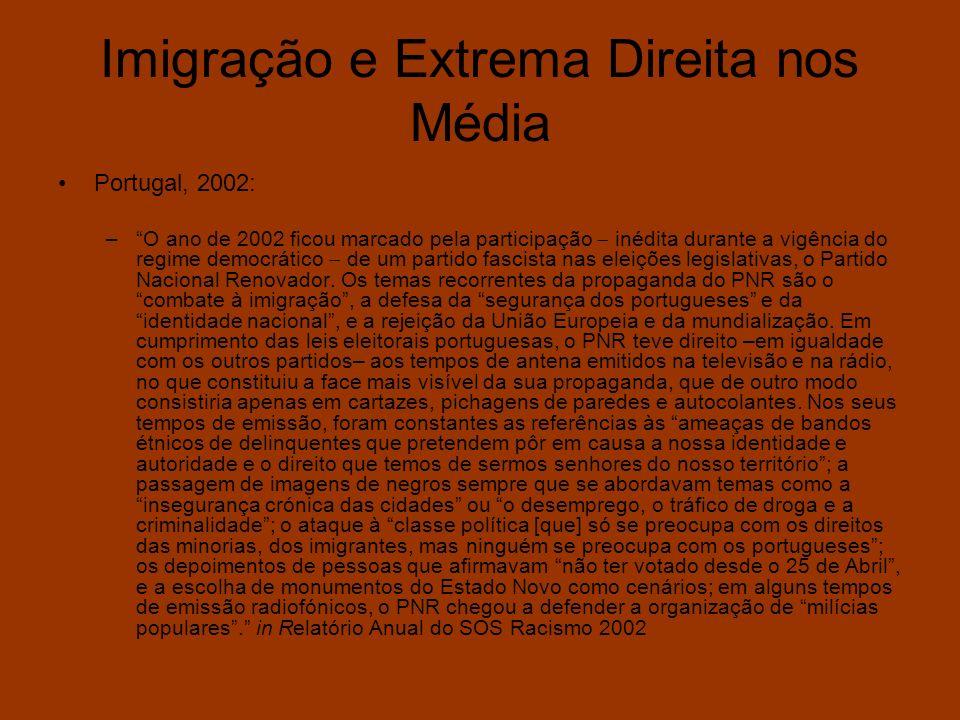 Imigração e Extrema Direita nos Média Portugal, 2002: –O ano de 2002 ficou marcado pela participação inédita durante a vigência do regime democrático