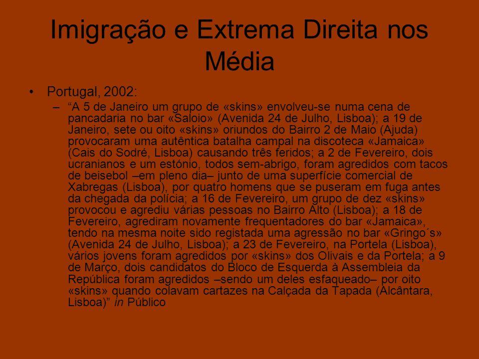 Imigração e Extrema Direita nos Média Portugal, 2002: –A 5 de Janeiro um grupo de «skins» envolveu-se numa cena de pancadaria no bar «Saloio» (Avenida