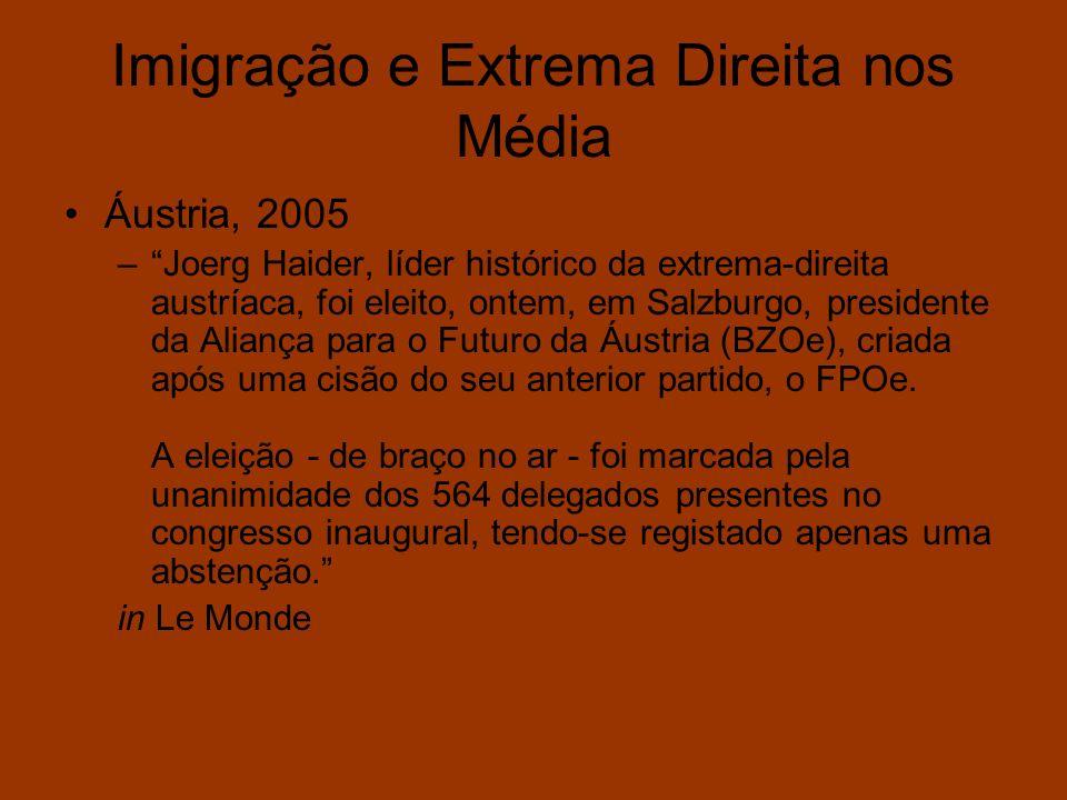 Imigração e Extrema Direita nos Média Áustria, 2005 –Joerg Haider, líder histórico da extrema-direita austríaca, foi eleito, ontem, em Salzburgo, pres