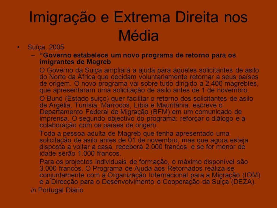 Imigração e Extrema Direita nos Média Suíça, 2005 –Governo estabelece um novo programa de retorno para os imigrantes de Magreb O Governo da Suiça ampl