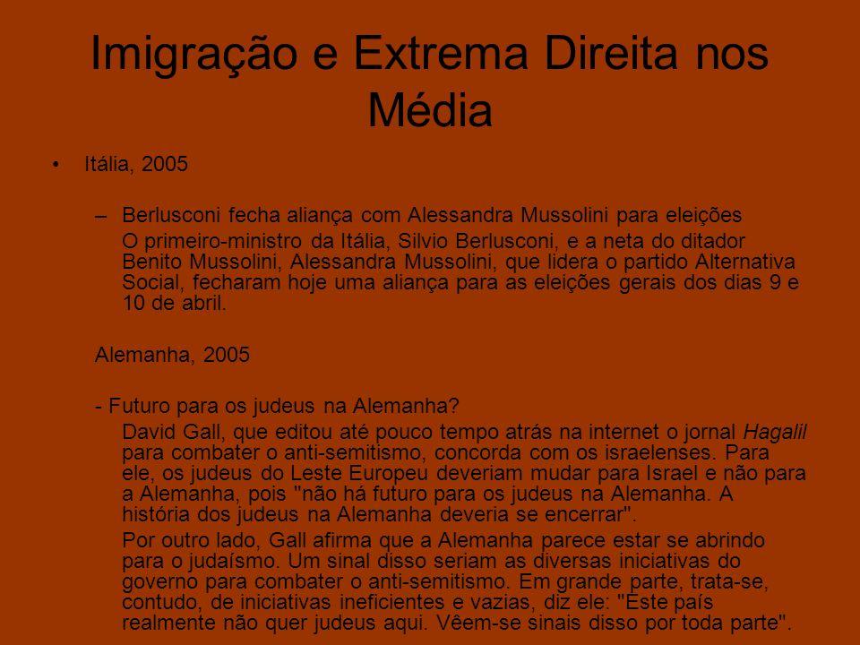 Imigração e Extrema Direita nos Média Itália, 2005 –Berlusconi fecha aliança com Alessandra Mussolini para eleições O primeiro-ministro da Itália, Sil