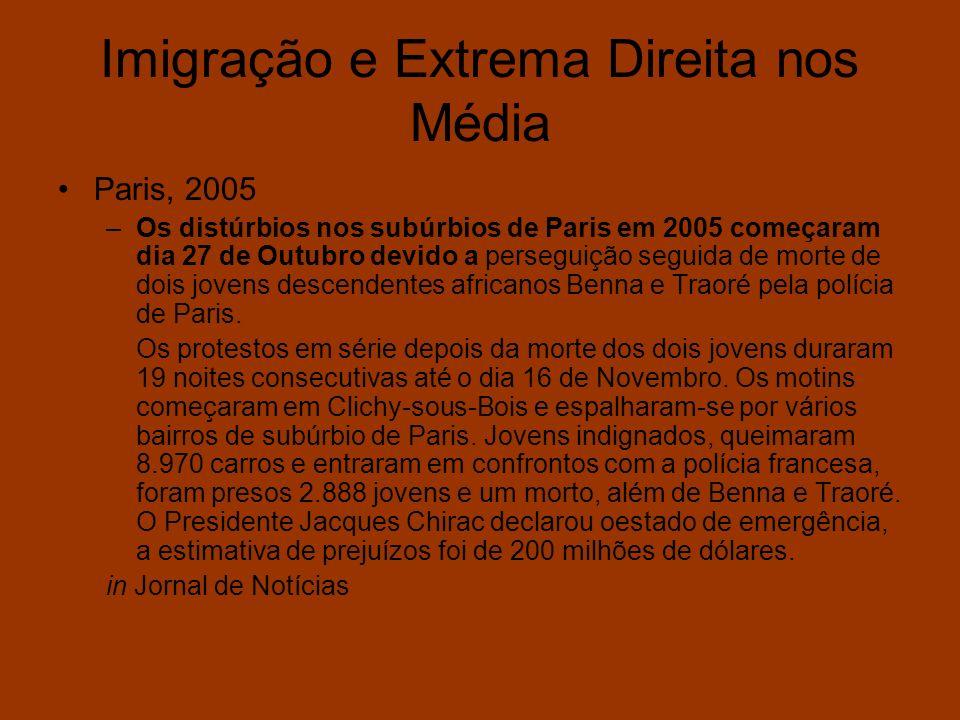 Imigração e Extrema Direita nos Média Paris, 2005 –Os distúrbios nos subúrbios de Paris em 2005 começaram dia 27 de Outubro devido a perseguição segui