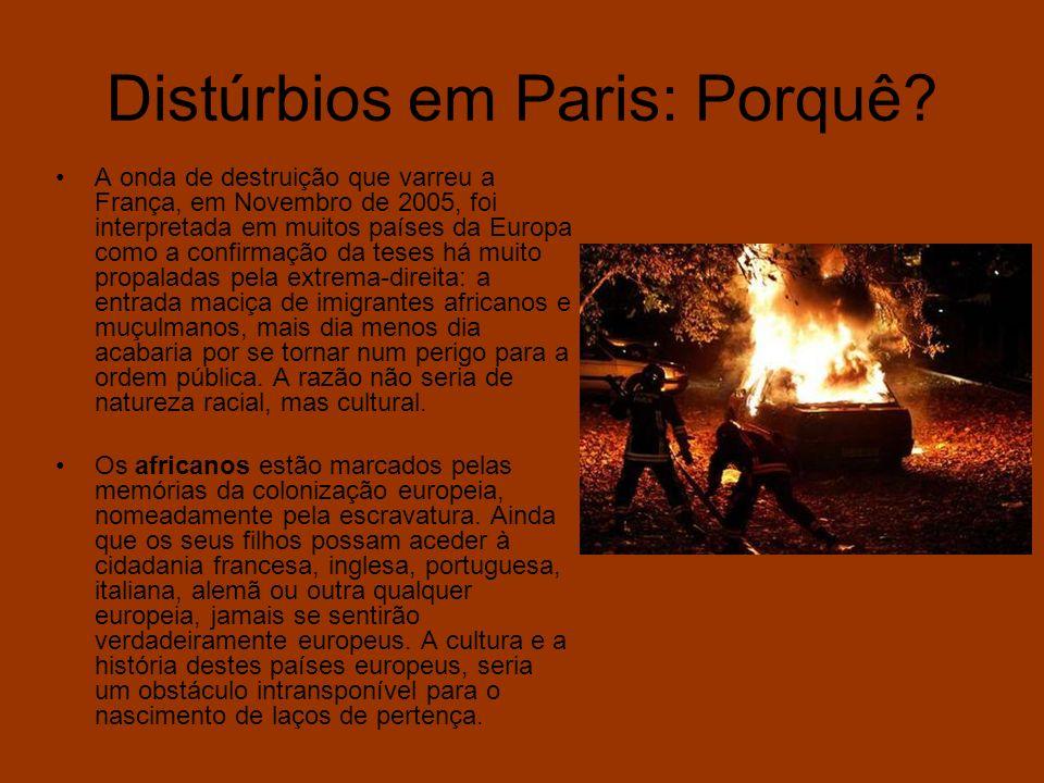 Distúrbios em Paris: Porquê? A onda de destruição que varreu a França, em Novembro de 2005, foi interpretada em muitos países da Europa como a confirm