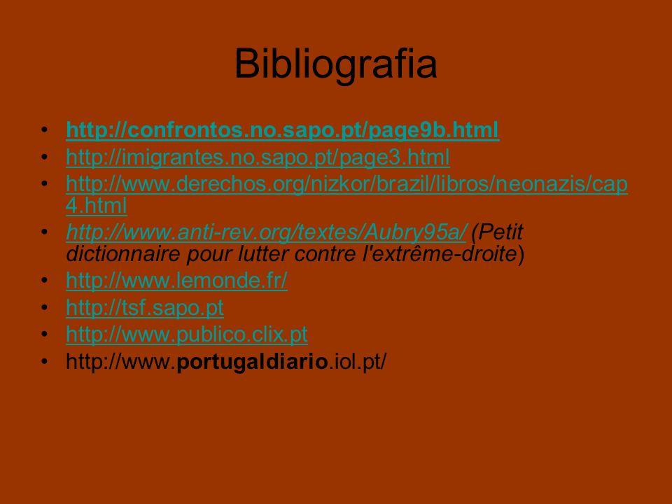Bibliografia http://confrontos.no.sapo.pt/page9b.html http://imigrantes.no.sapo.pt/page3.html http://www.derechos.org/nizkor/brazil/libros/neonazis/ca