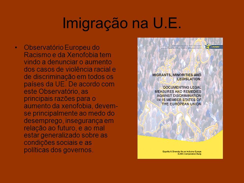Imigração na U.E. Observatório Europeu do Racismo e da Xenofobia tem vindo a denunciar o aumento dos casos de violência racial e de discriminação em t