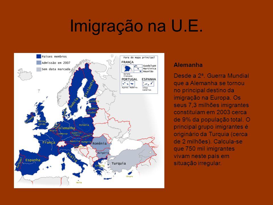 Imigração na U.E. Alemanha Desde a 2ª. Guerra Mundial que a Alemanha se tornou no principal destino da imigração na Europa. Os seus 7,3 milhões imigra