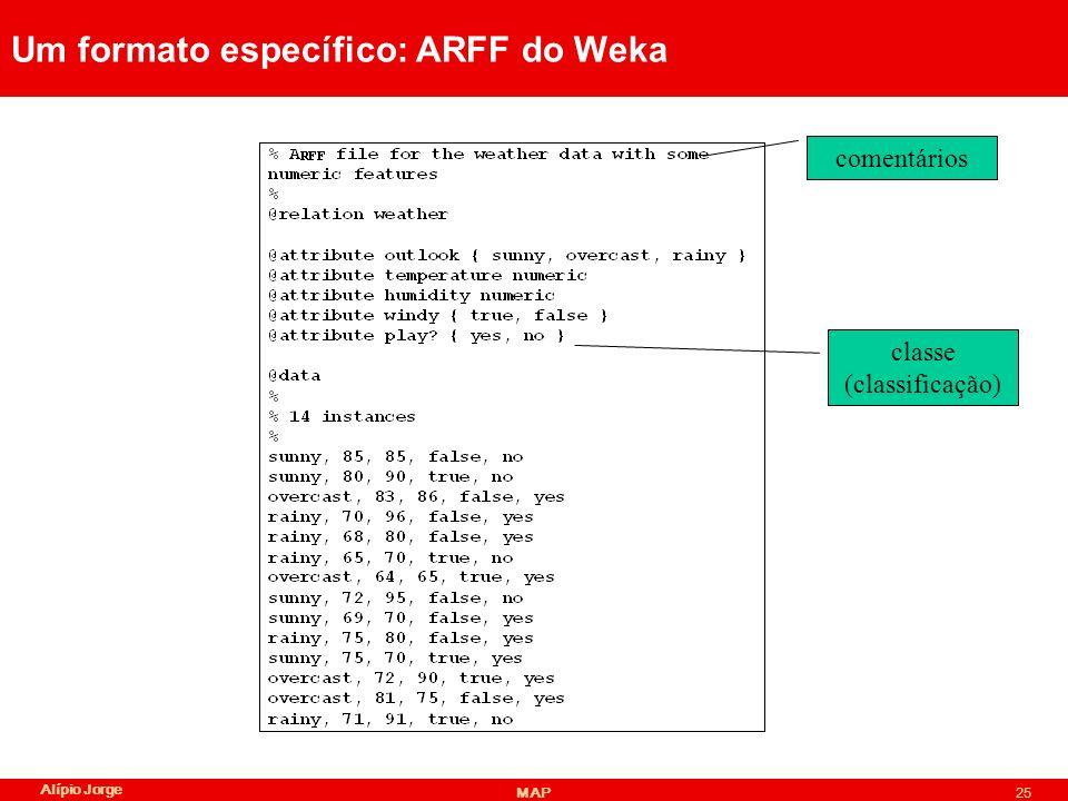 Alípio Jorge MAP25 Um formato específico: ARFF do Weka comentários classe (classificação)