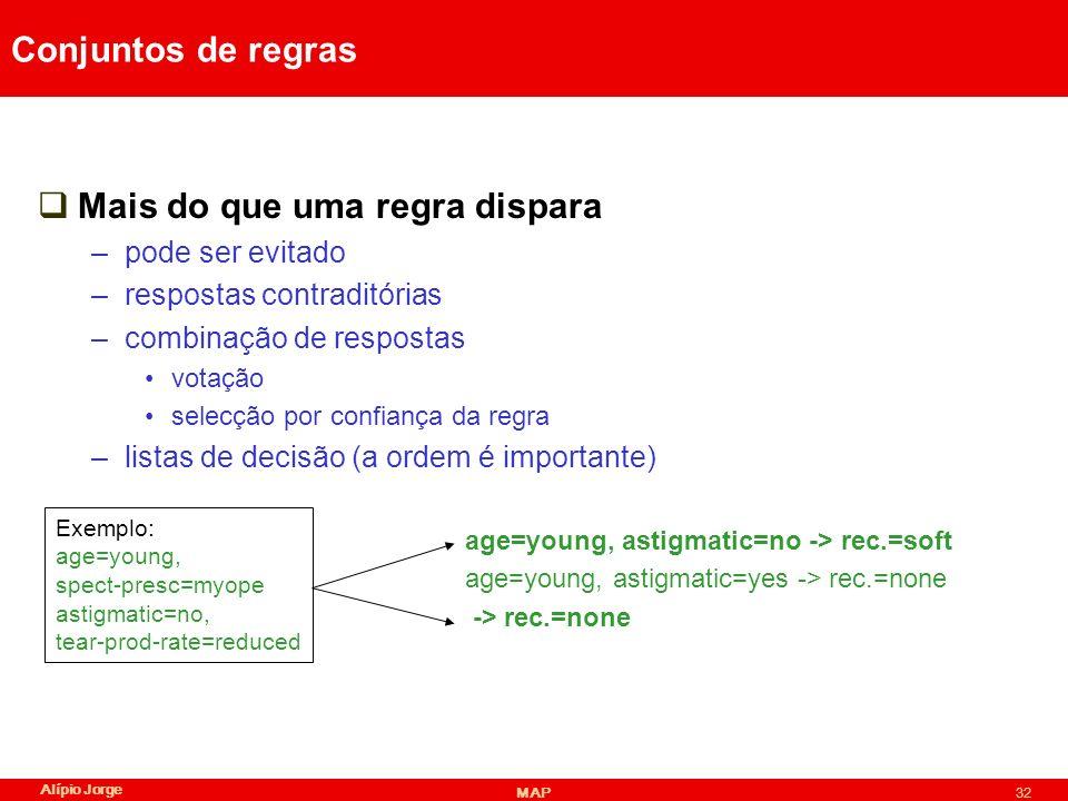 Alípio Jorge MAP32 Conjuntos de regras Mais do que uma regra dispara –pode ser evitado –respostas contraditórias –combinação de respostas votação selecção por confiança da regra –listas de decisão (a ordem é importante) age=young, astigmatic=no -> rec.=soft age=young, astigmatic=yes -> rec.=none -> rec.=none Exemplo: age=young, spect-presc=myope astigmatic=no, tear-prod-rate=reduced