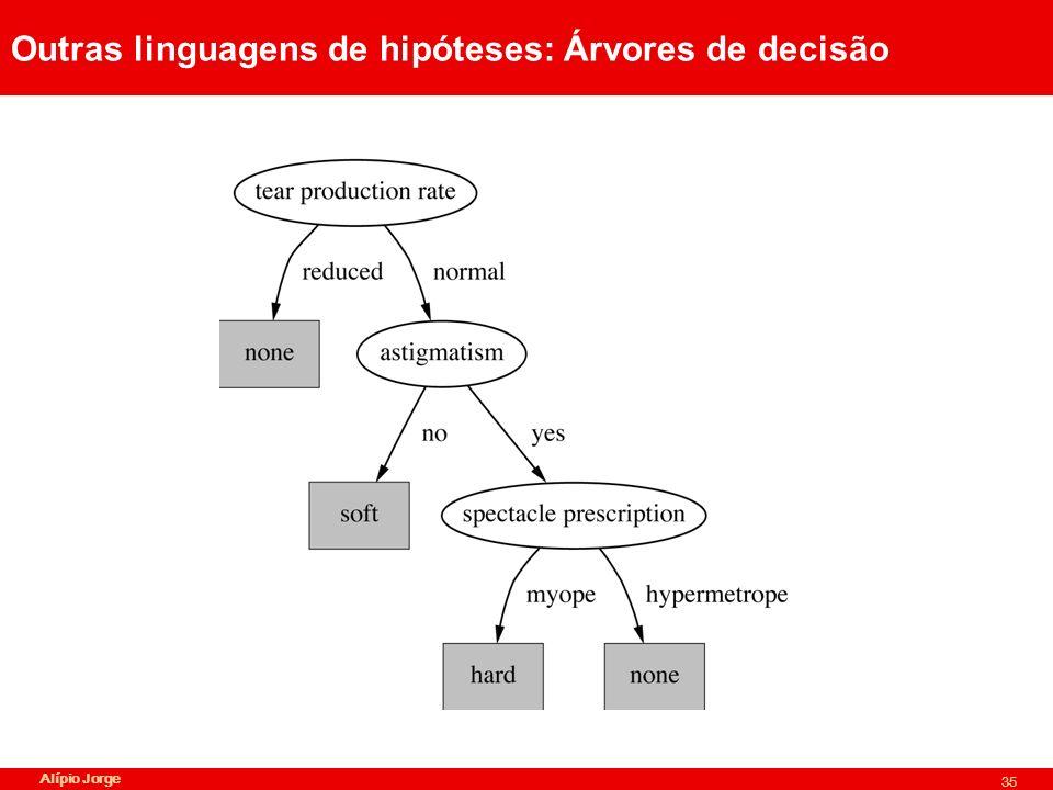 Alípio Jorge 35 Outras linguagens de hipóteses: Árvores de decisão
