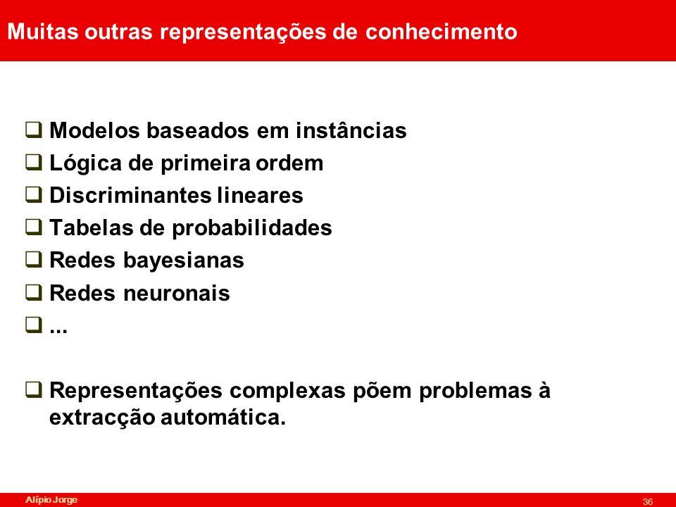 Alípio Jorge 36 Muitas outras representações de conhecimento Modelos baseados em instâncias Lógica de primeira ordem Discriminantes lineares Tabelas de probabilidades Redes bayesianas Redes neuronais...