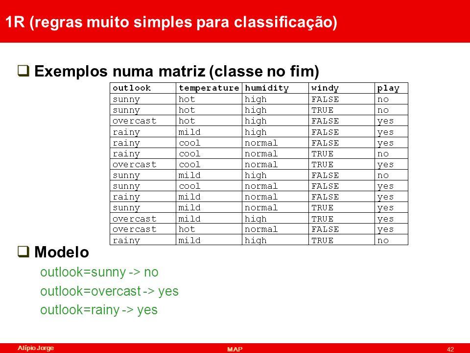 Alípio Jorge MAP42 1R (regras muito simples para classificação) Exemplos numa matriz (classe no fim) Modelo outlook=sunny -> no outlook=overcast -> yes outlook=rainy -> yes