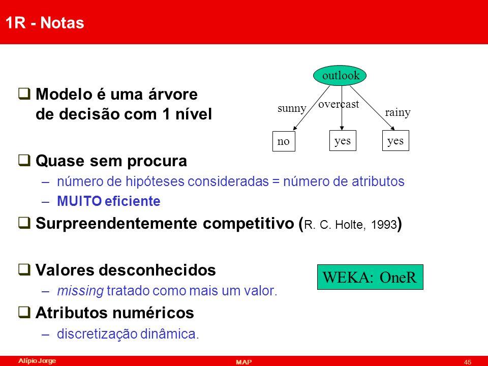 Alípio Jorge MAP45 1R - Notas Modelo é uma árvore de decisão com 1 nível Quase sem procura –número de hipóteses consideradas = número de atributos –MUITO eficiente Surpreendentemente competitivo ( R.