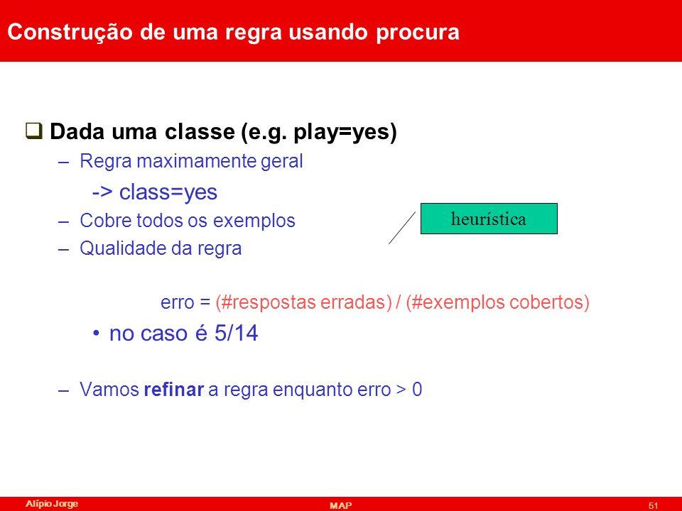 Alípio Jorge MAP51 Construção de uma regra usando procura Dada uma classe (e.g.