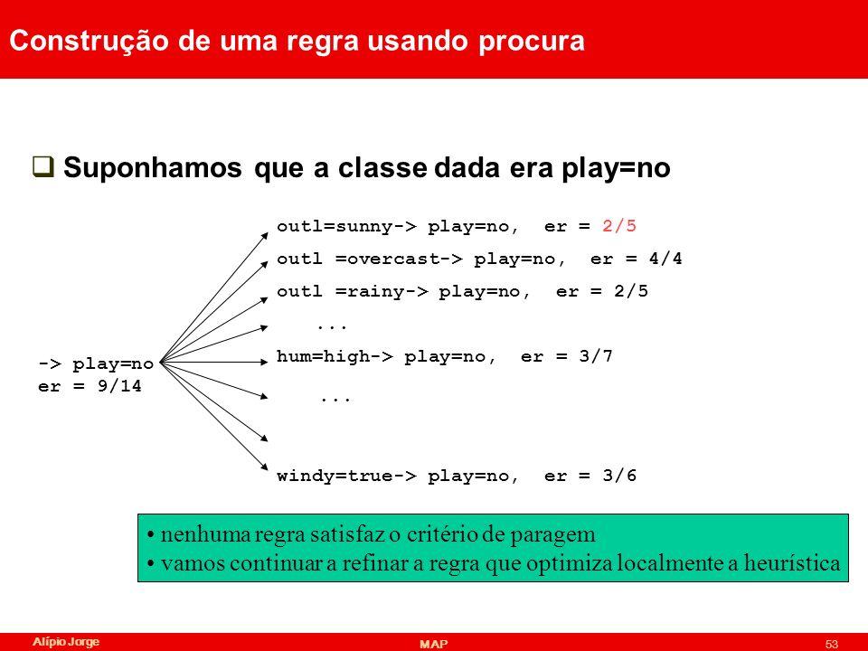 Alípio Jorge MAP53 Construção de uma regra usando procura Suponhamos que a classe dada era play=no -> play=no er = 9/14 outl=sunny-> play=no, er = 2/5 outl =rainy-> play=no, er = 2/5 outl =overcast-> play=no, er = 4/4 hum=high-> play=no, er = 3/7...