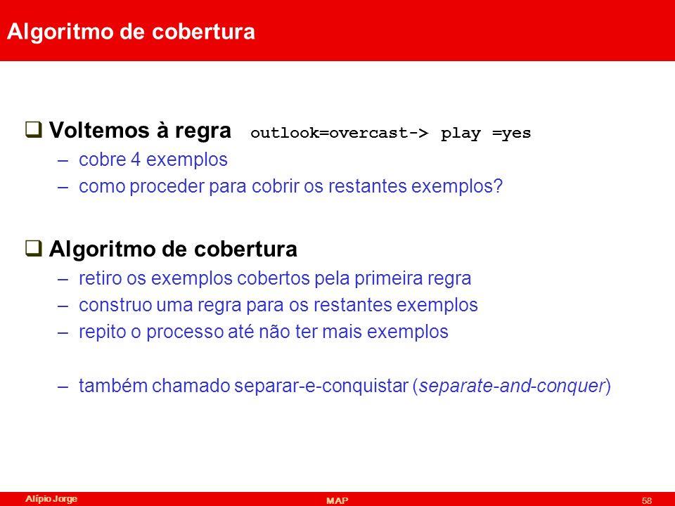Alípio Jorge MAP58 Algoritmo de cobertura Voltemos à regra outlook=overcast-> play =yes –cobre 4 exemplos –como proceder para cobrir os restantes exemplos.