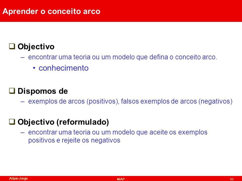 Alípio Jorge MAP65 Aprender o conceito arco Objectivo –encontrar uma teoria ou um modelo que defina o conceito arco.