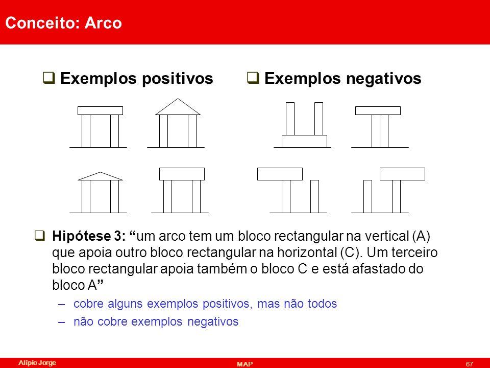 Alípio Jorge MAP67 Conceito: Arco Exemplos positivos Exemplos negativos Hipótese 3: um arco tem um bloco rectangular na vertical (A) que apoia outro bloco rectangular na horizontal (C).