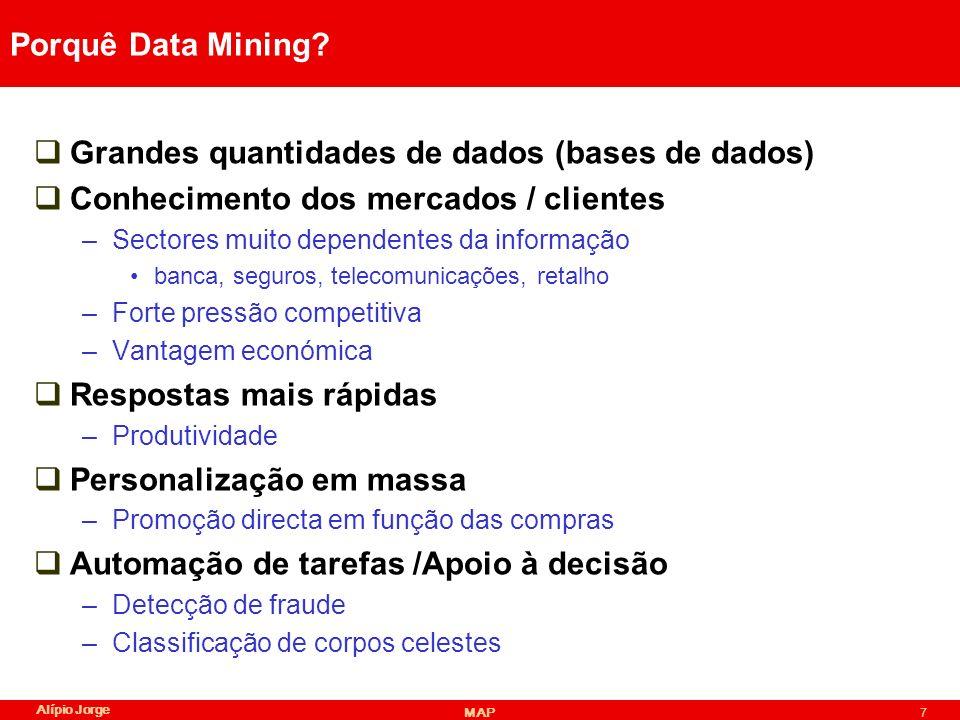 Alípio Jorge MAP48 Conhecimento como output Dados Método DMConhecimento/ Modelo Resultado de um método DM