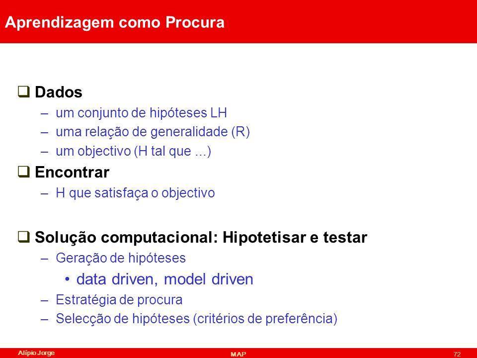 Alípio Jorge MAP72 Aprendizagem como Procura Dados –um conjunto de hipóteses LH –uma relação de generalidade (R) –um objectivo (H tal que...) Encontrar –H que satisfaça o objectivo Solução computacional: Hipotetisar e testar –Geração de hipóteses data driven, model driven –Estratégia de procura –Selecção de hipóteses (critérios de preferência)