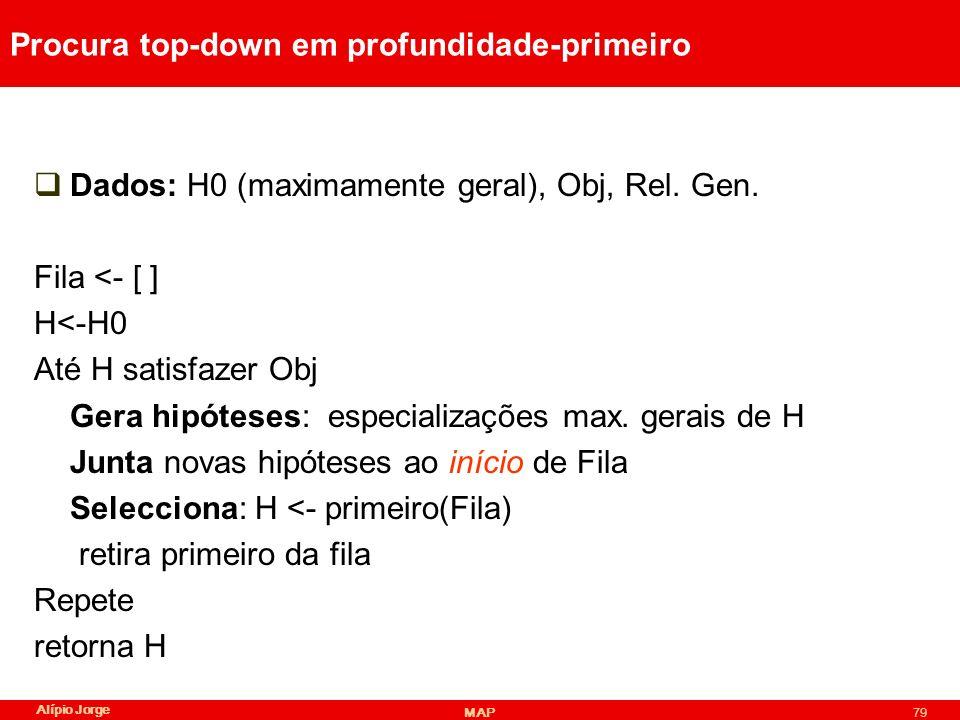 Alípio Jorge MAP79 Procura top-down em profundidade-primeiro Dados: H0 (maximamente geral), Obj, Rel.