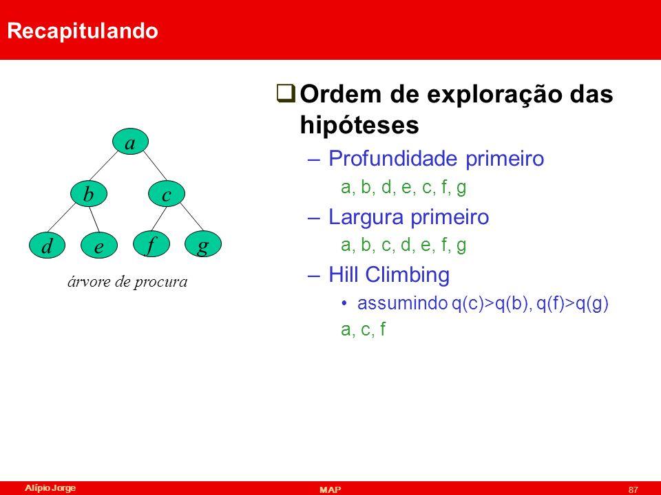 Alípio Jorge MAP87 Recapitulando Ordem de exploração das hipóteses –Profundidade primeiro a, b, d, e, c, f, g –Largura primeiro a, b, c, d, e, f, g –Hill Climbing assumindo q(c)>q(b), q(f)>q(g) a, c, f a bc de fg árvore de procura