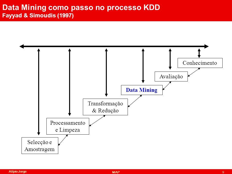 Alípio Jorge MAP9 Data Mining como passo no processo KDD Fayyad & Simoudis (1997) Selecção e Amostragem Processamento e Limpeza Transformação & Redução Data Mining Avaliação Conhecimento