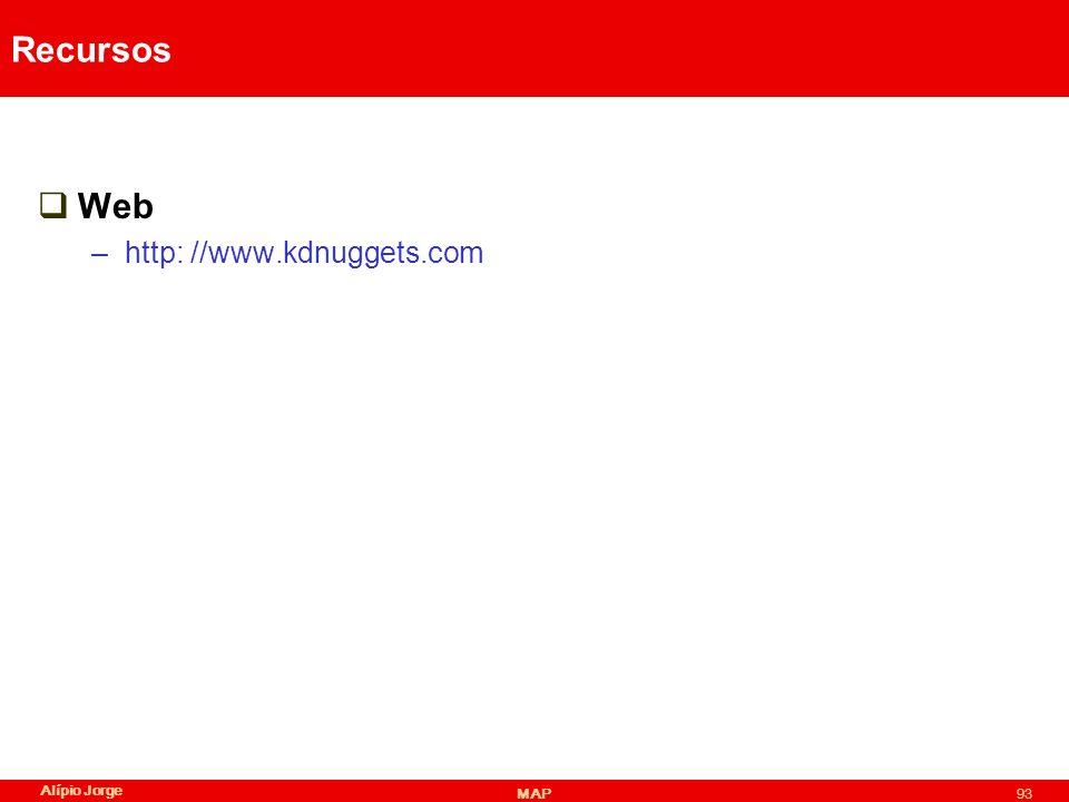 Recursos Web –http: //www.kdnuggets.com Alípio Jorge MAP93