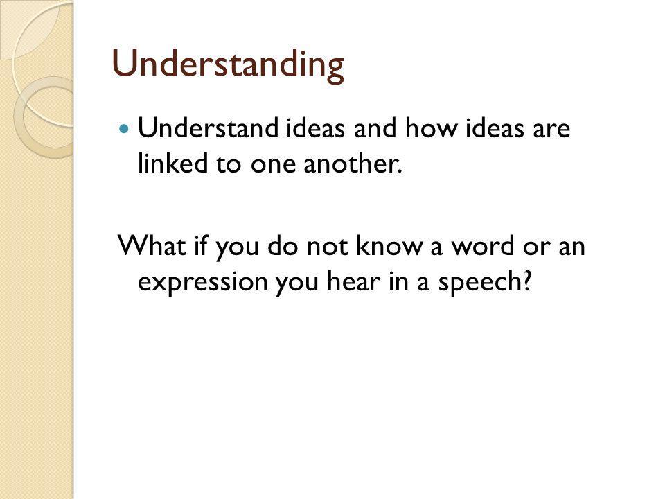 Analyzing Speech type Identification of main ideas Analysis of links Memory