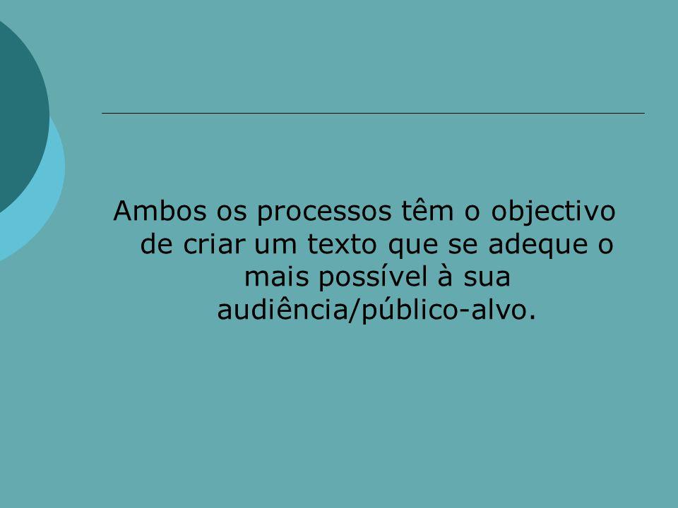 Ambos os processos têm o objectivo de criar um texto que se adeque o mais possível à sua audiência/público-alvo.
